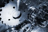stock photo of titanium  - aerospace gears and cogs - JPG