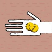 Beggar hand with two coins
