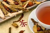 stock photo of naturopathy  - a cup of tea for traditional chinese medicine - JPG