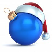 Christmas ball ornament New Year bauble decoration blue Santa hat icon