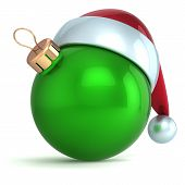 Christmas ball ornament New Year bauble decoration green Santa hat icon