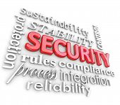 pic of stability  - Security 3D Words Reliability Stability Network Issues - JPG