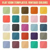Set Of Flat App Icon Templates, Backgrounds. Vintage Palette. Ve