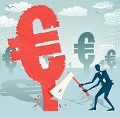 Abstract Businessman Cuts Down The Euro.eps