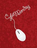 Computer Mouse Cyber Monday Red Background Illustration