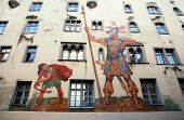 David And Goliath Fresco On Medieval House Wall,regensburg, Germany