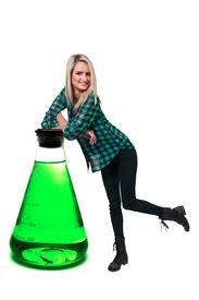 pic of pyrex  - Beautiful woman standing beside a tempered glass beaker - JPG