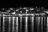 Mediterranean Sea Town At Night