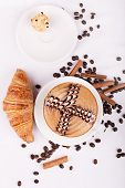 picture of scum  - Cappuccino cup with drawing on scum and Croissant - JPG