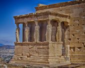 Caryatids statues and erechtheion, Athens Greece