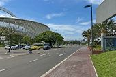 Alongside of Moses Mabhida soccer stadium in Durban