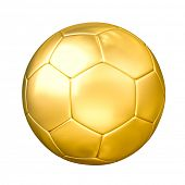 Soccer football cup prize concept - gold golden soccer ball isolated on white background
