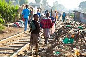 NAIROBI, KENYA - FEBRUARY 6, 2014: Children living in the slums of Kibera on February 6, 2014 in Nai