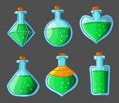 Collection of green magical bottles. Vector illustration. Isolated on dark