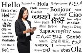 Young attractive woman with a smartphone over the background with a different world languages (language school concept)