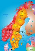 vector color map of Norway and Sweden country