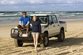 Backpackers 4WDing On Australia's Fraser Island