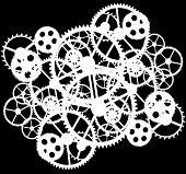 stock photo of gold tooth  - white gears on black background vector illustration - JPG
