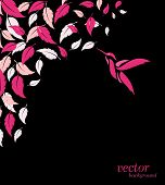 Abstract Pink Leaf And Hummingbirds Background