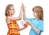 Two Children Doing High Five Gesture
