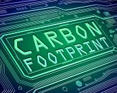 stock photo of carbon-footprint  - Abstract style illustration depicting printed circuit board components with a carbon footprint concept - JPG