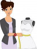 Illustration of a Girl Taking the Measurements of a Dress Placed on a Mannequin