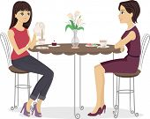 Illustration of a Mother and Daughter Having Tea Together