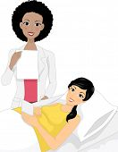 Illustration of an Ob-Gyne Discussing the Result of the Ultrasound with Her Pregnant Patient