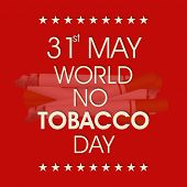 Poster, banner or flyer design for World No Tobacco Day with stylish text on burning cigarettes red