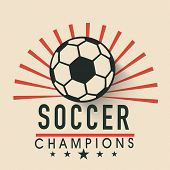 Creative poster, banner or flyer design with shiny soccer ball and stylish text soccer champion on stylish background.