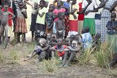 JONGLEI, SOUTH SUDAN- DECEMBER 4: group of unidentified South Sudanese children from the Dinka tribe at a tribal gathering on December 4, 2010.