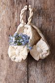 Russian Decor: Baby Bast Shoes With Flowers Forget-me-not