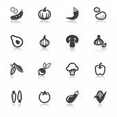 Vegetables Flat Icons With Reflection