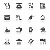 Cooking Flat Icons With Reflection
