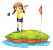 foto of ladies golf  - Illustration of an island with a young girl playing golf on a white background - JPG