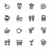 Beverage Flat Icons With Reflection