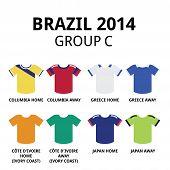 Brazil 2014 - group C teams football jerseys