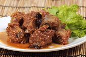image of pork  - Barbecue Pork Ribs roasted with tomato sauce - JPG