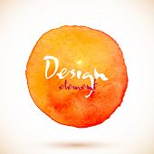 Orange watercolor circle, vector design element