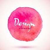 Pink watercolor circle, vector design element
