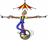 Circus man keeping balance while riding an unycicle