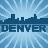 Denver skyline reflected with blue sunburst vector illustration