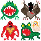 image of giant lizard  - worse nightmare terrifying monsters retro eight bit pixel art - JPG
