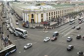 ST.PETERSBURG, RUSSIA - JUN 26, 2013: Top view of the Metro and mall Gostiny Dvor on Nevsky Prospect
