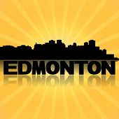 Edmonton skyline reflected with sunburst illustration