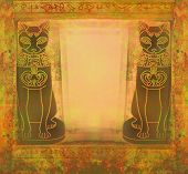 Stylized Egyptian Cats -  Grunge Frame