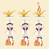 image of aladdin  - It is a picture of three aladdin - JPG