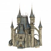 foto of fairy-tale  - 3D digital render of a fairy tale castle isolated on white background - JPG