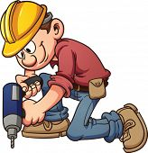 Cartoon construction worker drilling a hole. Vector clip art illustration with simple gradients. All in a single layer.