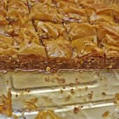 image of phyllo dough  - baklava delicious oriental desert with nuts and honey syrup - JPG